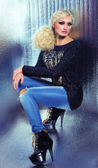Mode blond kvinna — Stockfoto