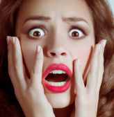Woman scared face — Stock Photo