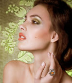 Woman in jewelry ring — Stock Photo