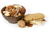Nuts, spices and cookies — Stock Photo