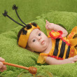 Little girl dressed like a bee — Stock Photo