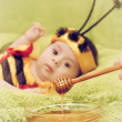 Little girl dressed like a bee — Stock Photo #48103665