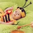 Little girl dressed like a bee — Stock Photo #48103669
