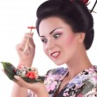 Woman with sushi — Stock Photo #49239967