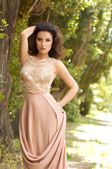 Woman in pastel long dress — Foto Stock