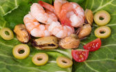 Tasty mussels and prawn — Stock Photo