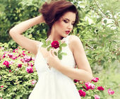Woman withred rose — Stok fotoğraf