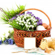 Basket with Easter eggs and spring flowers — Stock Photo #9891219