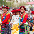 Youth in traditional Tibetan clothes performing folk dance — Stock Photo