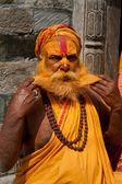 Sadhu Man, Blessing In Pashupatinath Temple — Stock Photo