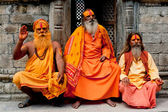 Sadhu Men, Blessing In Pashupatinath Temple — Stock Photo