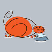 Plump red cat drinking milk — Stock Vector
