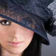 Portrait of young beautiful woman in hat — Stock Photo #19189047