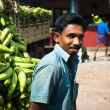 Indian man with a cargo of banana - Stock Photo