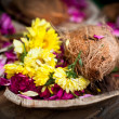 Flower and coconut offerings for Hindu religious ceremony — Stock Photo #22346945