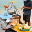 Thai selling traditional food at beach — Stock Photo