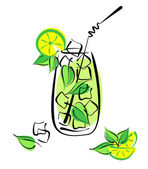 Iced mojito with lime and mint — Vector de stock