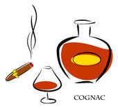 Glass and bottle of luxury cognac with best tobacco cigar — Stock Vector
