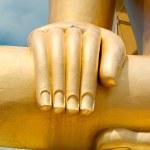Big golden Buddhas hand in Wat Phra Yai Temple. Koh Samui island — Stock Photo #24591551