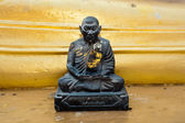 Black monk statue in Wat Phra Yai Temple. Thailand — Stock Photo