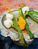 Lotus flowers garland offering in buddhist temple. Thailand — Foto de Stock