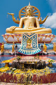 Big golden Buddha statue in Wat Phra Yai Temple. Koh Samui — Foto de Stock