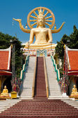 Big golden Buddha statue in Wat Phra Yai Temple. Koh Samui — Stock Photo