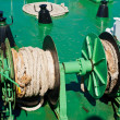 Traveling by sea. Close up rope on mechanism at ferry boat deck — Stock Photo