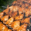 Cooking delicious juicy chicken wings at outdoors grill — Stock Photo