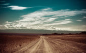 Empty rural road going through prairie under cloudy sky — Stock Photo