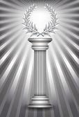 Silver award column with laurel wreath — Stock Vector