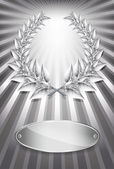 Silver award laurel wreath and label for jubilee text or competi — Stock Vector