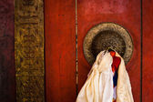 Old door at Buddhist monastery temple. India — Foto de Stock