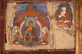 Old mural at Buddhist monastery wall. India — Foto de Stock