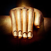 Big golden Buddhas hand. Thailand — Stock Photo