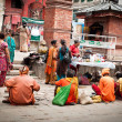 Holy Sadhu men  blessing people at Hindu Temple.. Nepal, Kathmandu,Durbar Square — Stock Photo