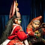 Indian actor performing tradititional Kathakali dance drama — Stock Photo #34773605