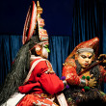 Indian actor performing tradititional Kathakali dance drama — Stock Photo