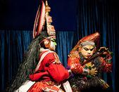 Indian actor performing tradititional Kathakali dance drama — Foto de Stock