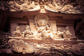 Amazing stone bas relief with Hindu God pantheon — Stock Photo