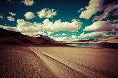 Empty rural road going through desert prairie — Stock Photo