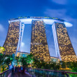 Evening landscape with Marina Bay Sands Hotel at Singapore — Stock fotografie