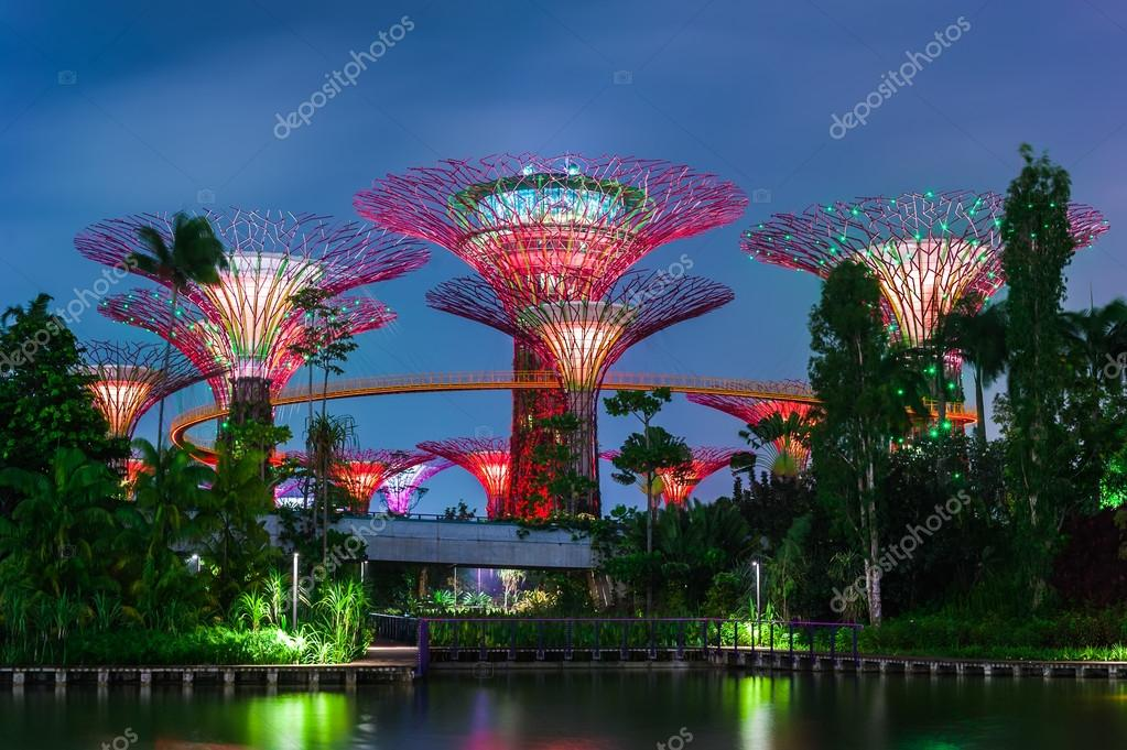 Vue futuriste de l 39 clairement tonnant au jardin de la for Au jardin les amis singapore