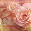 Grunge texture with floral background in vintage style. Pink roses flowers — Stock Photo #43240553
