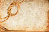 Grunge texture of old book paper sheet and hemp rope — Foto Stock