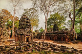Ta Prohm temple with giant banyan trees at Angkor Wat complex, Siem Reap, Cambodia — Stock Photo