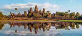 Panorama view of Angkor Wat temple at sunset. Siem Reap, Cambodia — Stock Photo