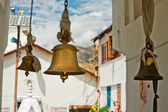 Bronze bells in front of Buddhist Temple — Stock Photo