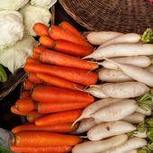 Fresh organic vegetables in wicker baskets — Stock Photo