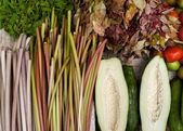 Papaya, water lilly stems and fresh organic vegetables — Stock Photo